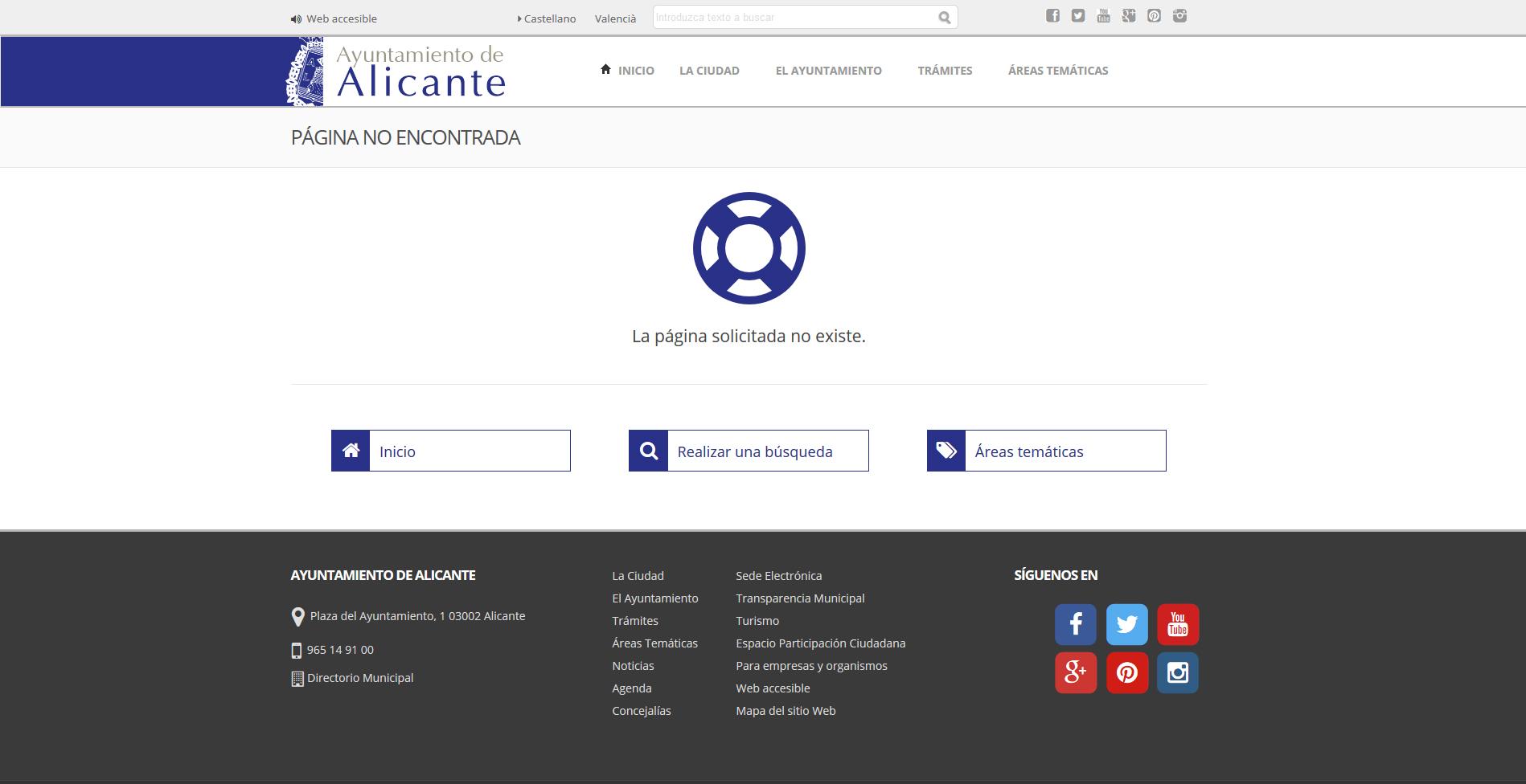 Página error 404 estándar Alicante