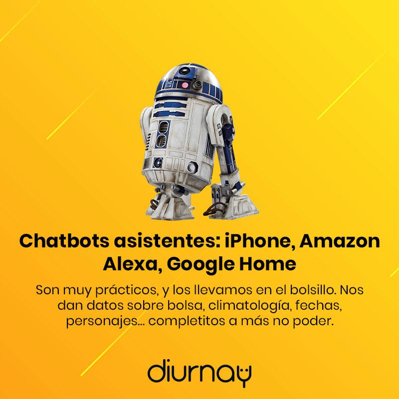Chatbots asistentes: iPhone, Amazon Alexa, Google Home
